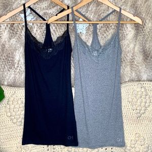 Gilly Hicks Ribbed Lace Trim Tank Tops